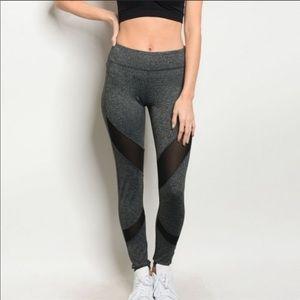 Pants - NWT Grey mesh insert leggings